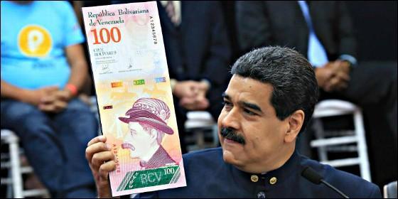 Venezuela: el dictador Maduro y los billetes de bolívar.