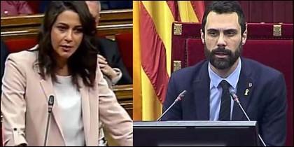 Inés Arrimadas y Roger Torrent.