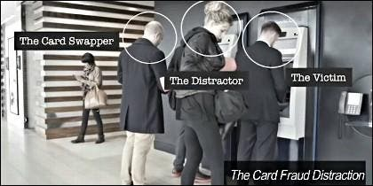 Robo en el cajero: el que cambia la tarjeta, la que distrae y la víctima.