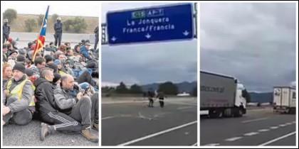Los mossos contemplando a los golpistas y en el centro y la derecha los camionero rumanos despejando la zona.