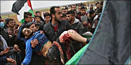 Un palestino muerto en la frontera entre Gaza e Israel.