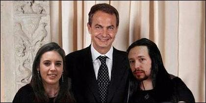 La imagen manipulada con Zapatero, Iglesias y Montero.