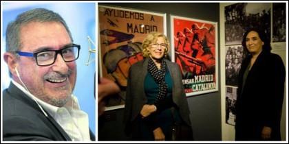Carlos Herrera y las alcaldesas de Madrid y Barcelona, Manuela Carmena y Ada Colau.