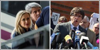 Cristina Cifuentes, a su llegada a Sevilla y Carles Puigdemont, fuera de prisión.