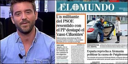 Javier Negre y la portada de El Mundo del 8 de abril.