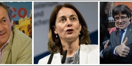 Hermann Tertsch, la ministra de Justicia alemana, Katarina Barley, y Carles Puigdemont.