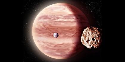 Un júpiter caliente con dos pequeñas lunas.