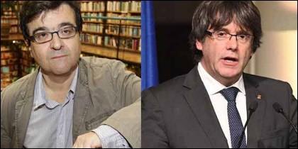 Javier Cercas y Carles Puigdemont.
