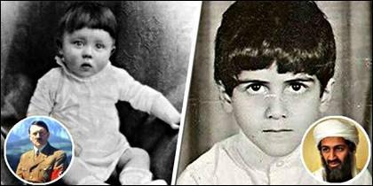 Adolf Hitler de niño y Osama Ben Laden en su infancia.