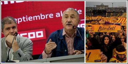 Unai Sordo (CCOO) y Pepe Álvarez (UGT) y a la derecha una manifa separatista.