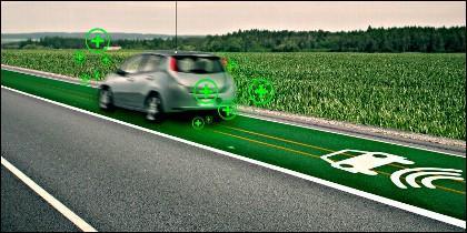 Coche eléctrico y carretera inteligente.