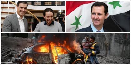 Pedro Sánchez y Pablo Iglesias piden 'diálogo' ante las atrocidades de Bachar el Asad.