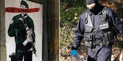 Cartel colocado en la locadidad de Alsasua con la frase 'Alde Hemendik-Fuera de aqui' tras la detención de los acusados de agredir a dos agentes de la Guardia Civil