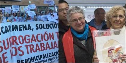 Los trabajadores afectados; y Manuela Carmena con Montserrat Galcerán.