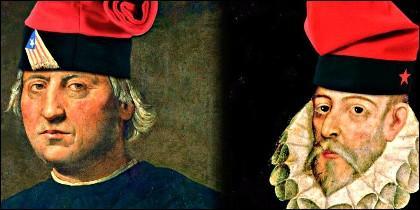 Cristobal Colón y Cervantes 'disfrazados' de catalanes.