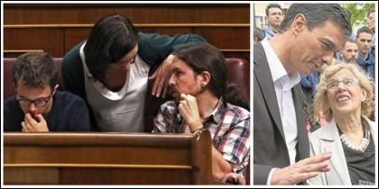 Errejón y Bescansa con Pablo Iglesias y Pedro Sánchez, de confidencias con Manuela Carmena.