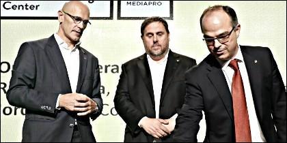 Raül Romeva, Oriol Junqueras y Jordi Turull.