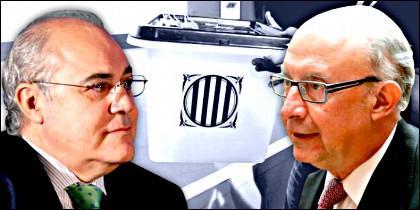 El juez Pablo Llarena y el ministro Cristóbal Montoro.