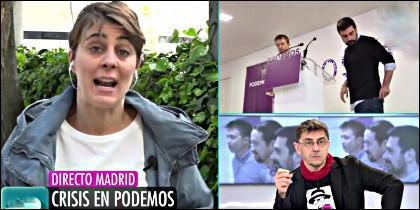 Lorena Ruiz-Huerta, Iñigo Errejón, Ramón Espinar y Juan Carlos Monedero, todos de Podemos, en Telecinco.