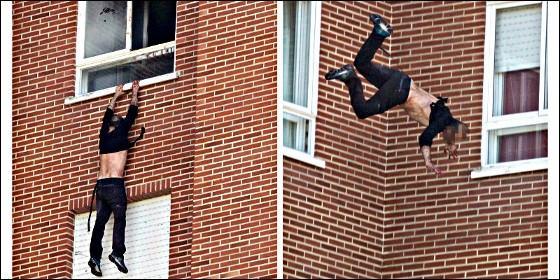 El asesino salta desde el octavo piso, tras prenderle fuego.