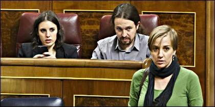 Irene Montero, Pablo Iglesias y Tania Sánchez (PODEMOS).