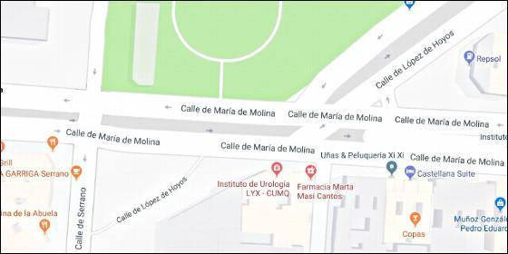 El cruce de María de Molina con la calle de López de Hoyos y Serrano, considerado uno de los puntos negros del barrio de Salamanca.