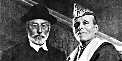 El filósofo Miguel de Unamuno y el general Millán Astray en 1936.