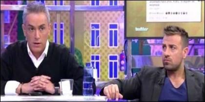 Kiko Hernández y Rafa Mora en el plato de Telecinco.