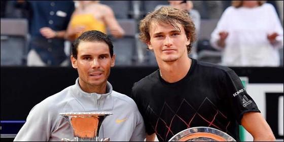 Rafa Nadal con Alexander Zverev en Roma.
