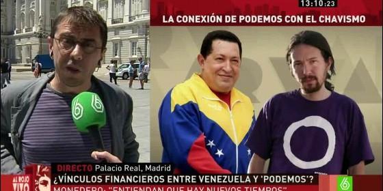 Juan Carlos Monedero, el chavista Nicolás Maduro y Pablo Iglesias (PODEMOS).