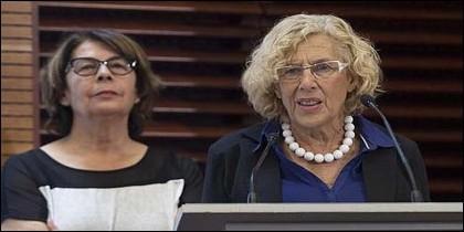 La alcaldesa de Madrid, Manuela Carmena, y su responsable de Medio Ambiente, Inés Sabanés.