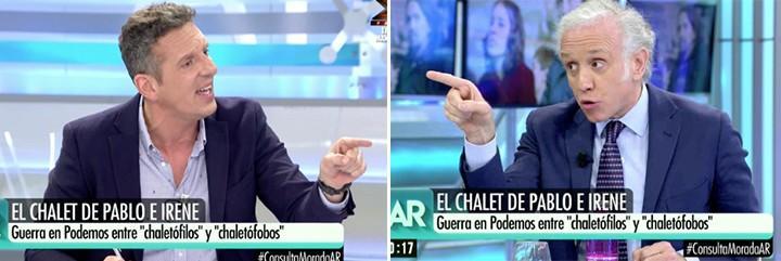 Joaquín Prat y Eduardo Inda apuntándose directamente.