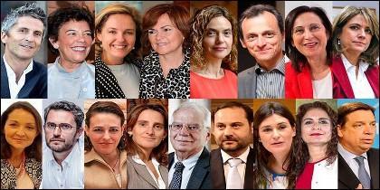 Todos los ministros del Gobierno de Pedro Sánchez 6/6/2018.