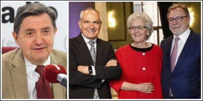 Losantos y, a la derecha, el exdirector de El País, Antonio Caño, su sucesora, Soledad Gallego y Juan Luis Cebrián, presidente del diario.