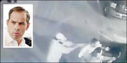 Fernando Purón Johnston y el momento en que el sicario le dispara en la cabeza.