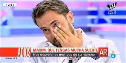 Màxim Huerta llora en su adiós.