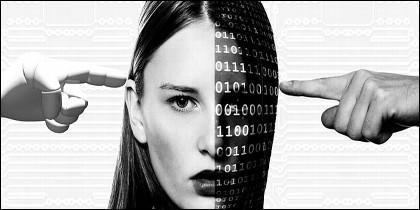 Cerebro, inteligencia artificial, robot, tecnología y ciencia.