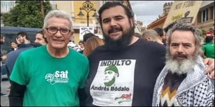 Cañamero, Oscar Reina 'El Pancetas' y Sánchez Gordillo.