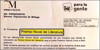 La carta de IU pidiendo el 'Novel' para el poeta García Lorca.