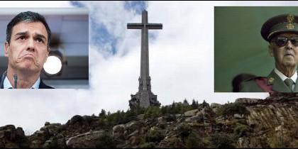 Pedro Sánchez y Francisco Franco, a ambos lados del Valle de los Caídos.
