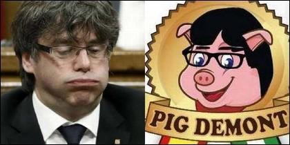 El prófugo Carles Puigdemont y los jamones 'Pig Demont'.