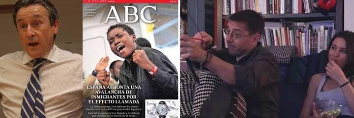 Hermann Tertsch, portada del diario ABC; y Monedero con Montero.