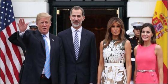 El presidente de EEUU Donald Trump y la primera dama Melania con los reyes de España en la Casa Blanca.