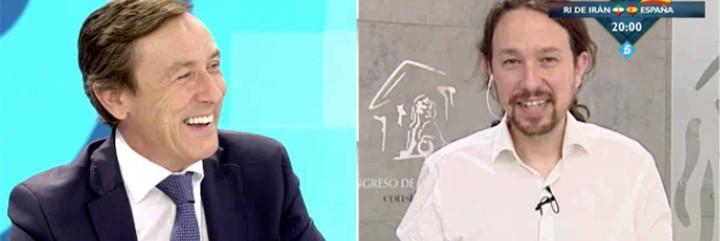 Rafa Hernando pasándoselo en grande a costa de Pablo Iglesias.