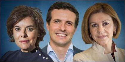 Soraya Sáenz de Santamaría, Pablo Casado y María Dolores de Cospedal (PP).