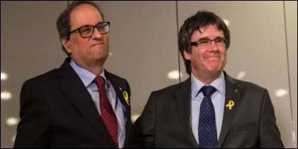 El xenófono Quim Torra con el prófugo Carles Puigdemont.