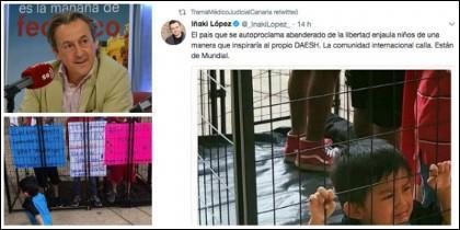 Hermann Tertsch, el tuit de Iñaki López y la foto real que nada tiene que ver con el hecho denunciado.