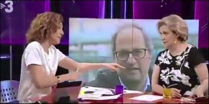 Pilar Rahola y la sectaria Helena García de TV3, emocionadas con el fanático Quim Torra.