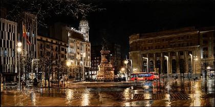 Cuadro 'la Plaza de España', de Zaragoza de Jesús Monge