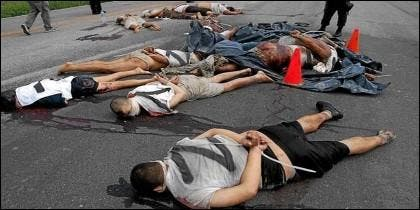 Cadáveres de migrantes asesinados en San Fernando de Tamaulipas, México.